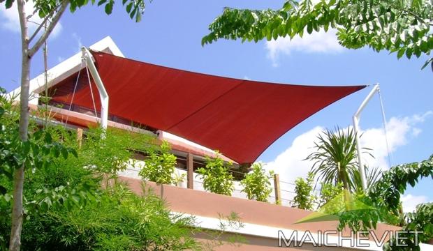 Thi công mái che cánh buồm cho sân thượng chống nắng và tăng độ thẩm mỹ